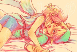 11kkr 2boys angel bed bed_sheet belt bike_shorts bird_wings blonde_hair blue_eyes blush bulge crossover hat kid_icarus kiss link lying lying_on_person male multiple_boys open_mouth pit_(kid_icarus) pointy_ears purple_eyes red_hair shirt short_hair shorts shota sweat the_legend_of_zelda toga translation_request wings wreath yaoi young_link