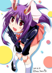 1girl animal_ears blazer blush bunny_ears from_above lowres miniskirt necktie open_mouth purple_hair red_eyes reisen_udongein_inaba skirt solo touhou train_90