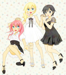 3girls alternate_costume alternate_hairstyle black_hair blonde_hair blue_eyes high_heels highres kairi kingdom_hearts kingdom_hearts_358/2_days multiple_girls namine nontanon ponytail red_hair short_hair xion_(kingdom_hearts)