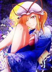 1girl absurdres alternate_costume alternate_eye_color alternate_hair_length alternate_hairstyle bad_leg barefoot blonde_hair blue_kimono bow bra breasts cleavage floral_background floral_print flower full_moon hair_bow hat hat_ribbon highres japanese_clothes kimono knees_to_chest legs legs_up looking_at_viewer looking_to_the_side ming-wu_min mob_cap moon obi one_eye_closed open_clothes open_kimono red_bra red_eyes ribbon sash shiny shiny_hair shiny_skin short_hair side_ponytail sidelocks smile solo spider_lily spider_lily_print thighs touhou underwear wide_sleeves yakumo_yukari yukata