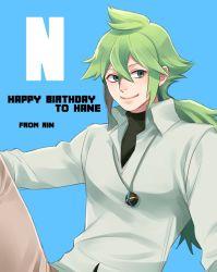 1boy artist_name character_name green_eyes green_hair happy_birthday jewelry long_hair male_focus n_(pokemon) no_hat no_headwear pendant pokemon pokemon_(game) pokemon_bw rin2010 smile solo