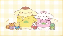 >_< :3 ayu_(mog) bagel_(sanrio) blush bow character dog eyes_closed frog hair_bow hamster hand_up heart hood hoodie looking_at_viewer macaroon_(sanrio) matsuno_choromatsu matsuno_choromatsu_(cosplay) matsuno_ichimatsu matsuno_ichimatsu_(cosplay) matsuno_juushimatsu matsuno_juushimatsu_(cosplay) matsuno_karamatsu matsuno_karamatsu_(cosplay) matsuno_osomatsu matsuno_osomatsu_(cosplay) matsuno_todomatsu matsuno_todomatsu_(cosplay) mint_(sanrio) mouse muffin_(sanrio) no_humans open_mouth osomatsu-san plaid plaid_background pompompurin sanrio scone_(sanrio) smile solid_circle_eyes squirrel standing sweater