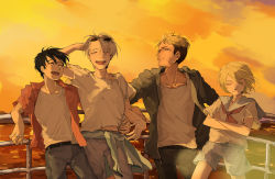 4boys ^_^ black_hair blonde_hair christophe_giacometti clothes_around_waist crossed_arms eyes_closed facial_hair fence green_eyes hand_on_another's_hip jewelry katsuki_yuuri male_focus multiple_boys open_mouth ring sailor_collar shorts silver_hair smile sunglasses sunglasses_on_head sunset viktor_nikiforov you_(gay322k) yuri!!!_on_ice yuri_plisetsky