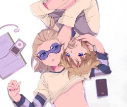 2boys blonde_hair blue_eyes brown_hair child digital_media_player dylan_keith glasses goggles gorugon green_eyes hug inazuma_eleven inazuma_eleven_(series) ipod male_focus mark_kruger multiple_boys shirt_lift short_hair smile sunglasses yaoi