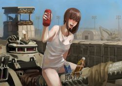 1girl :d arm_at_side artificial_vagina blush bottle breasts brown_eyes brown_hair can dog_tags erect_nipples excavator ground_vehicle guard_tower hand_up highres holding jittsu long_hair looking_at_viewer military military_base military_vehicle motor_vehicle no_pants on_vehicle open_mouth original outdoors panties saliva silhouette sitting sky smile solo_focus straddling strap_slip tank tank_top teeth tongue tongue_out translation_request underwear white_panties