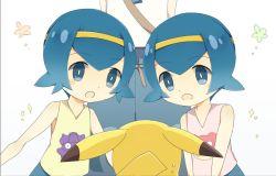 10s 2girls 3girls bangs bare_shoulders blue_eyes blue_hair blunt_bangs child hairband hou_(pokemon) multiple_girls nintendo open_mouth pikachu pokemon pokemon_(anime) pokemon_sm simple_background sisters sui_(pokemon) suiren_(pokemon) tank_top twins upper_body