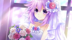 1girl absurdres bouquet bow bridal_veil choujigen_game_neptune collar dress eyebrows_visible_through_hair eyes_visible_through_hair flower frills hair_bow hair_flower hair_ornament happy highres lace light_rays looking_at_viewer neptune_(choujigen_game_neptune) neptune_(series) pink_flower pink_hair purple_bow purple_eyes purple_flower purple_hair short_hair smile solo tsunako veil wedding wedding_dress white_collar white_flower white_flowers window