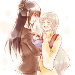 1girl 2boys age_difference baby black_hair blush carrying chizu_(tuduru) couple eyes_closed family father_and_son formal happy husband_and_wife iron_maiden_jeanne long_hair mother_and_son multiple_boys red_eyes shaman_king smile spoilers suit tao_men tao_ren white_hair