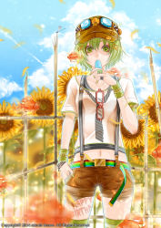 1girl body_writing bouno_satoshi bracelet cloud cowboy_shot dragonfly english fish flower goggles goggles_on_head green_eyes green_hair green_legwear green_nails hair_ornament happy_birthday hat highres jewelry navel original popsicle short_hair shorts sky solo striped striped_legwear sunflower suspenders sweat thighhighs wristband