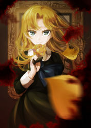 1girl absurdres blonde_hair blood blurry depth_of_field flower green_eyes highres ib long_hair mary_(ib) petals picture_frame rose smile solo soratokanon yellow_rose