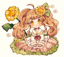 1girl blush bow brown_hair commentary dandelion flower grass green_bow hair_bow hair_flower hair_ornament hands_on_lap mokarooru mouth open original oversized_object pleated_skirt red_bow sailor_collar skirt solo traditional_media twintails watercolor_(medium) wavy_hair yellow_eyes