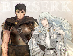 2boys androgynous armor belt berserk black_hair blood blood_on_face blue_eyes cape copyright_name gauntlets griffith guts kippu light_smile long_hair male_focus multiple_boys parted_lips white_hair yellow_eyes