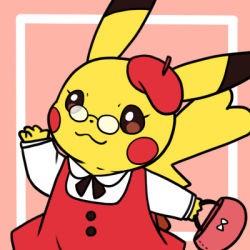 :3 bag beret buttons costume dress glasses handbag hat lowres neck_ribbon pikachu pink_background pokemon red_dress red_hat ribbon simple_background solo tagme waving zrae