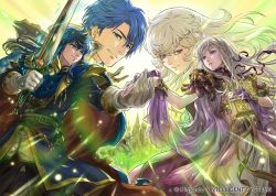 2boys 2girls bangs blue_eyes blue_hair book cape castle celice_(fire_emblem) character_request company_connection copyright_name diadora_(fire_emblem) dress fire_emblem fire_emblem:_seisen_no_keifu fire_emblem_cipher gloves hand_holding holding holding_weapon horse jewelry long_hair multiple_boys multiple_girls purple_eyes short_hair sigurd_(fire_emblem) suzuki_rika sword unicorn weapon white_hair