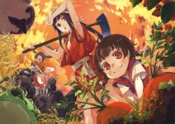 3girls :3 absurdres all_fours arm_up armpits bird black_hair blush braid brown_eyes brown_hair carrot cloud fighting food frog from_below fruit g_yuusuke hair_ribbon highres hoe holding long_hair multiple_girls open_mouth original outdoors raspberry red_eyes ribbon scan sky standing twin_braids twintails white_ribbon worktool