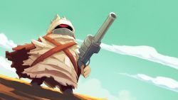 1boy big_bandit cloud dutch_angle from_below glowing glowing_eye gun highres justin_chan male nuclear_throne official_art one-eyed red_eyes sky solo standing weapon