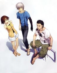 1girl 2boys arms_behind_back black_hair black_shirt braid breasts brown_hair character_request collarbone decoration_disorder_disconnection eye_contact full_body green_pants highres ishizue_arika koyama_hirokazu looking_at_another medium_breasts multiple_boys open_mouth pants shirt short_hair shorts silver_hair simple_background sleeveless sleeveless_shirt standing t-shirt white_background white_shirt white_shorts white_shots
