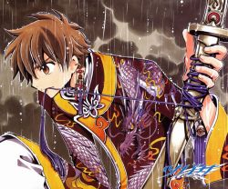 1boy absurdres brown_eyes brown_hair clamp earrings highres jewelry katana outdoors rain short_hair solo sword tsubasa_chronicle weapon xiaolang