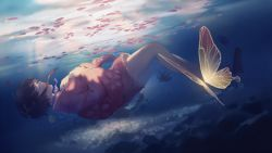 1girl brown_hair bubble butterfly dark dutch_angle eyes_closed floating_hair floral_print flower from_side full_body hands_on_own_chest japanese_clothes kimono koutetsujou_no_kabaneri mumei_(kabaneri) petals pink_kimono profile sandals_removed short_hair sinking solo spencer_sais submerged sunlight underwater water wide_sleeves yukata
