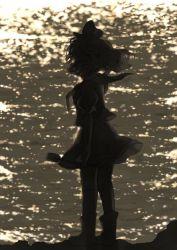 1girl back black_hair dark full_body hat iris_anemone ladle murasa_minamitsu puffy_sleeves sailor_collar sailor_hat shirt short_hair short_sleeves skirt skirt_set solo touhou water