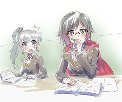 2girls bespectacled black_hair blue_eyes book cape eye_scar glasses iesupa multiple_girls out_of_character paper pencil ponytail rimless_glasses ruby_rose rwby school_uniform silver_eyes sketch surprised weiss_schnee white_hair