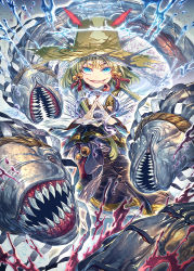 1girl adapted_costume aura bell blonde_hair blue_eyes energy eyebrows eyebrows_visible_through_hair fingers_together hair_bell hair_ornament long_sleeves looking_at_viewer mishaguji monster moriya_suwako no_eyes purple_skirt pyonta red_eyes rope scales sharp_teeth shimenawa shiny shiny_clothes shiny_hair shiny_skin shirt short_eyebrows short_hair skirt smile stance teeth tongue tongue_out touhou water white_shirt wide_sleeves wind zounose