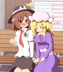 /\/\/\ 2girls bench blonde_hair blush brown_eyes brown_hair dress dress_shirt female hat long_hair maribel_hearn multiple_girls necktie purple_dress senba_chidori shirt short_hair sitting skirt sleeping touhou usami_renko