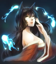 1girl aerlai ahri animal_ears bare_shoulders black_hair breasts detached_sleeves fox_ears hitodama korean_clothes large_breasts league_of_legends lips long_hair nose sideboob solo yellow_eyes