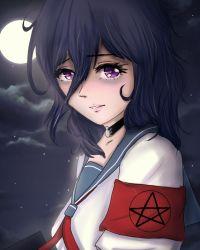 1girl choker goth gothic long_hair moon night oka_ruto_(yandere_simulator) purple_eyes school_uniform yandere_simulator