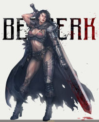 1girl armor artist_request asymmetrical_legwear berserk bikini_armor blood boots breasts cape cleavage dragonslayer_(sword) genderswap guts highres large_breasts over_shoulder scar simple_background star stato_ozo sword sword_over_shoulder warrior weapon weapon_over_shoulder