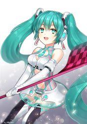 1girl aqua_eyes aqua_hair hair_ornament hatsune_miku headphones k_(shinya90) long_hair open_mouth skirt smile solo twintails vocaloid