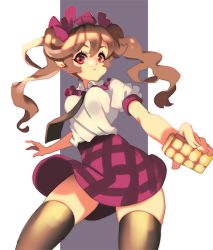 1girl black_legwear bow brown_hair cellphone checkered checkered_skirt cheong_ha hair_bow hat himekaidou_hatate miniskirt necktie no_wings phone puffy_short_sleeves puffy_sleeves purple_eyes short_sleeves skirt solo thighhighs tokin_hat touhou twintails