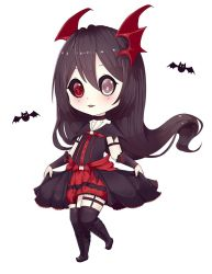 1girl battle black_hair black_sclera chibi gothic_lolita heterochromia kneehighs lolita_fashion long_hair munfa-chan nocturne_krumenker original red_eyes silver_eyes skirt skull solo suspenders teeth thighhighs watermark white_skin wings