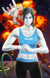 1girl abs badword capri_pants cracking_knuckles cuts explosion final_destination grey_eyes grey_hair injury long_hair master_hand midriff muscle pants ponytail small_breasts solo space spandex super_smash_bros. tank_top white_skin wii_fit wii_fit_trainer