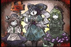3girls ^_^ black_border blue_dress blue_eyes blue_hair blush_stickers border crossed_arms dress drill_hair eyes_closed frown green_dress green_eyes green_hair grey_hair grin hair_ornament hair_stick hands_in_sleeves hat height_difference juliet_sleeves kaku_seiga long_sleeves mononobe_no_futo multiple_girls open_mouth puffy_short_sleeves puffy_sleeves short_sleeves skull smile smoke smoking_pipe soga_no_tojiko standing tate_eboshi touhou