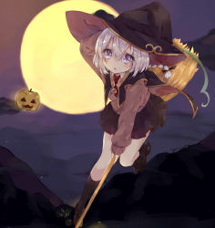 1girl black_legwear black_skirt blush braid broom broom_riding brown_shoes cape collared_shirt d: eyebrows_visible_through_hair full_body full_moon halloween hat highres holding jack-o'-lantern kanari_no_binetsu kneehighs leg_up loafers long_sleeves moon necktie night open_mouth original outdoors outstretched_arm pleated_skirt purple_hair red_necktie shirt shoes short_necktie silver_hair skirt solo wing_collar witch witch_hat