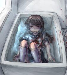 1girl artist_request bathtub blood empty_eyes pale sailor_uniform serafuku underwater