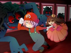 1boy 1girl arm_grab blood blood_from_mouth brown_hair clenched_teeth cosplay creepy crossover crown doll dress elbow_gloves garry_(ib) gloves hair_over_one_eye hat ib ib_(ib) long_hair mario mario_(cosplay) mario_(series) monster open_mouth overalls pink_dress portrait princess_peach princess_peach_(cosplay) purple_hair red_eyes running short_hair super_mario_bros. sweatdrop teeth white_gloves