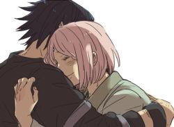 1boy 1girl black_hair couple emu_(losspass) eyes_closed haruno_sakura hetero hug naruto pink_hair short_hair uchiha_sasuke