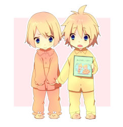 >:t 1boy 1girl :t aku_no_musume_(vocaloid) bird blonde_hair blue_eyes book brother_and_sister buttons chick child clenched_hands clothes_grab fang holding holding_book holding_clothes kagamine_len kagamine_rin messy_hair open_mouth ousaka_nozomi pajamas pajamas_pull pout short_hair siblings simple_background slippers twins vocaloid