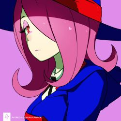 1girl erica_june_lahaie expressionless hair_over_one_eye hat highres little_witch_academia makeup pink_background pink_hair red_eyes signature solo sucy_manbavaran upper_body watermark web_address witch_hat