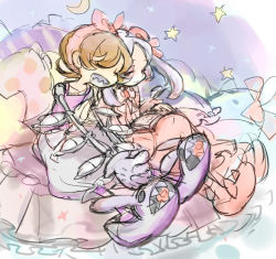 2girls bed bloody_marie_(skullgirls) commentary_request eyes_closed hair_ornament mechanical_arms multiple_girls nightgown notoro orange_hair pajamas peacock_(skullgirls) pillow short_hair silver_hair skull skull_hair_ornament skull_heart skullgirls sky sleeping slippers star star_(sky) starry_sky twintails