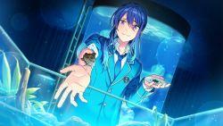 1boy aquarium blue_necktie dutch_angle ensemble_stars! jellyfish kanzaki_souma looking_down male_focus necktie official_art ponytail school_uniform sleeves_pushed_up smile solo tank_(container) turtle