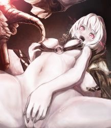 1girl black_nails breasts breasts_outside burning_eyes fang fingering fingernails glowing highres kantai_collection looking_at_viewer masturbation matchi_yun_(irojiro) monster nail_polish nipples o-ring_bikini o-ring_top open_mouth pale_skin pussy pussy_juice re-class_battleship red_eyes revision scarf sharp_fingernails shinkaisei-kan short_hair slit_pupils small_breasts smile solo spread_legs tongue white_hair
