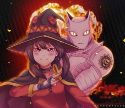1girl animal_ears blush brown_hair cape cat_ears choker crossover dress explosion hand_gesture hat jojo_no_kimyou_na_bouken killer_queen kono_subarashii_sekai_ni_shukufuku_wo! megumin power_connection randompeeps red_dress red_eyes slit_pupils smile witch_hat
