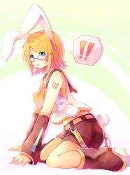 !! 1girl animal_ears blonde_hair bunny_ears bunny_tail glasses highres kagamine_rin kemonomimi_mode short_hair solo tail vocaloid yuirinex
