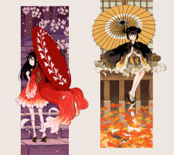 2girls architecture autumn_leaves back bangs bare_legs black_eyes black_hair bow cherry_blossoms double_bun east_asian_architecture fish_costume flower frills geta hair_bow holding holding_umbrella japanese_clothes kimono kneepits leaf legs_apart legs_together long_hair looking_at_viewer looking_back maple_leaf multiple_girls obi oriental_umbrella original petals platform_footwear purimari red_bow red_eyes sash short_kimono sidelocks sitting sleeping sliding_doors smile stairs standing umbrella water wide_sleeves yukata