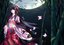 1girl absurdres bamboo black_hair breasts brown_eyes butterfly flower hair_flower hair_ornament highres hime_cut houraisan_kaguya japanese_clothes kamigakushi_no_cho_sakura long_hair long_sleeves moon night night_sky parted_lips sky solo touhou very_long_hair wide_sleeves