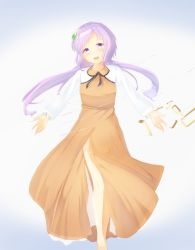 1girl chains flower hair_flower hair_ornament lavender_eyes lavender_hair long_hair low_twintails open_mouth septet_(zrca_janne) solo touhou tsukumo_benben twintails