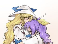 2girls blonde_hair blush breast_pillow eyes_closed hair_ribbon hat hug incest long_hair multiple_girls ponytail purple_hair ribbon shamisen_(syami_sen) siblings sisters touhou watatsuki_no_toyohime watatsuki_no_yorihime